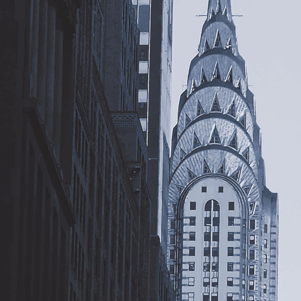 New York monochrome art print of the Chrysler building skyscraper, Manhattan detail