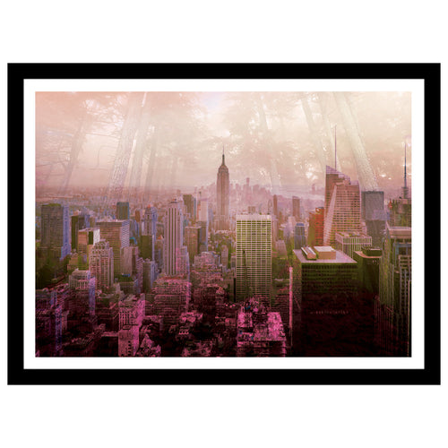 New York double exposed artwork with jungle and manhattan skyscrapers in sunset