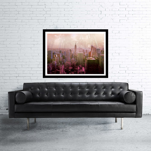 New York double exposed art print with jungle and manhattan skyscrapers in sunset