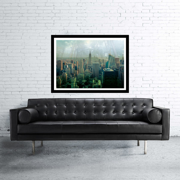 New York double exposed art print with jungle and manhattan skyscrapers in green