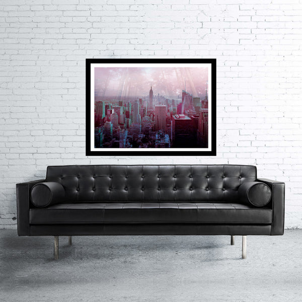 New York double exposed art print with jungle and manhattan skyscrapers at evening