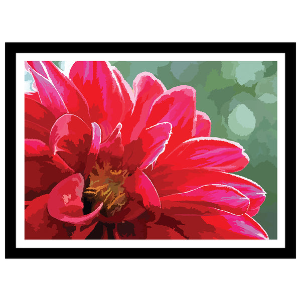 Abstract flower artwork Dahlia print in pink and red