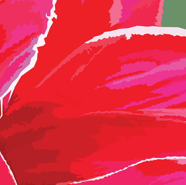 Abstract flower artwork Dahlia print in pink and red detailing