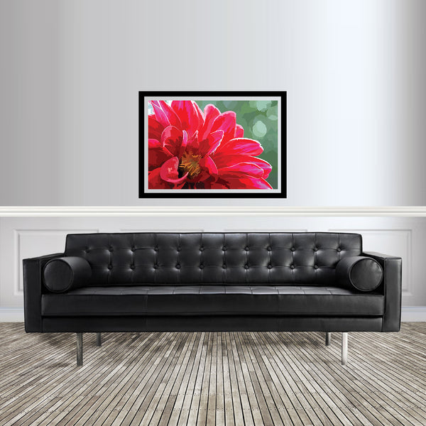 Abstract flower artwork Dahlia print in pink and red room setting
