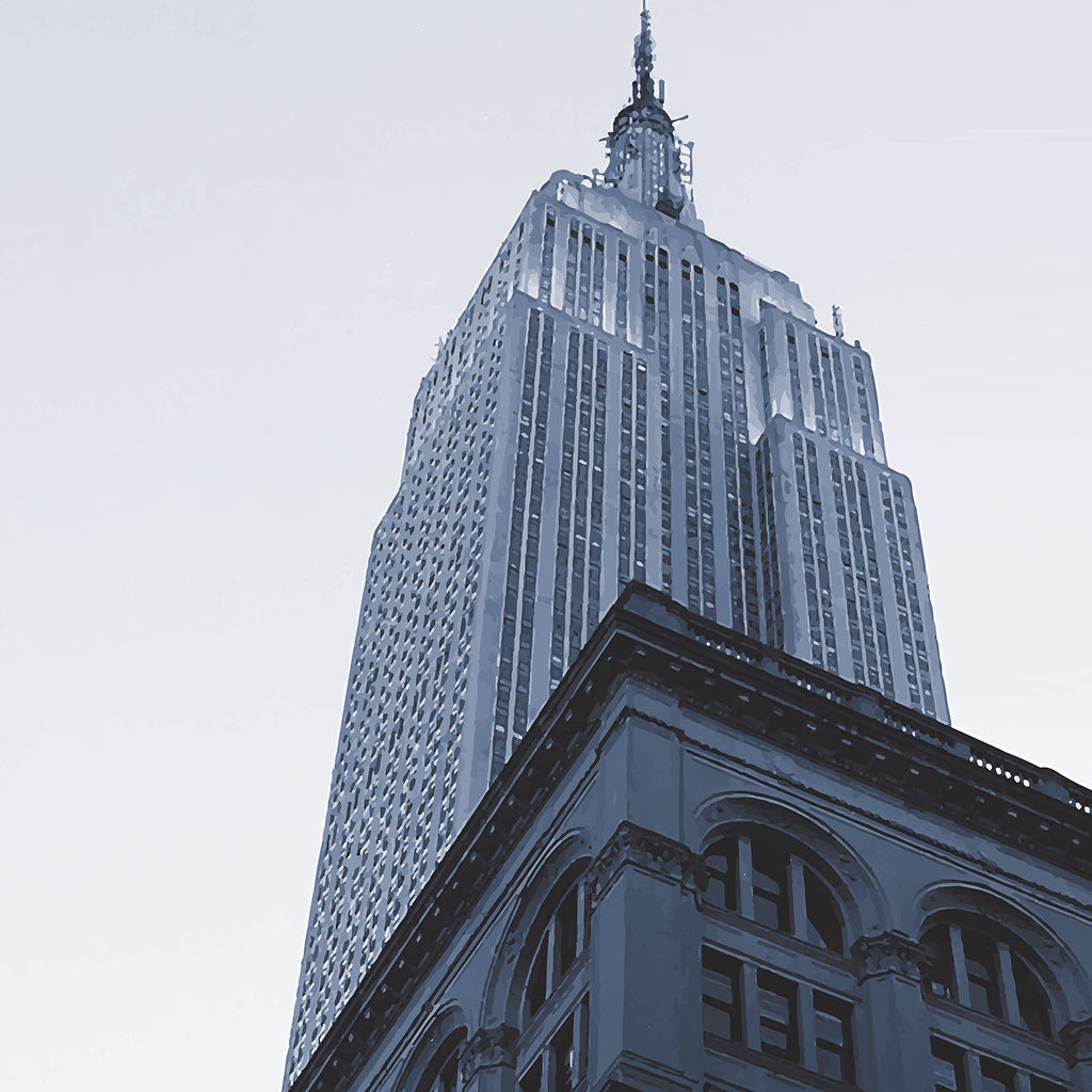 New York monochrome art print of the Empire State building skyscraper, Manhattan detail