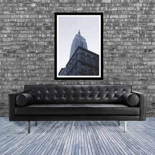 New York monochrome art print of the Empire State building skyscraper, Manhattan in room
