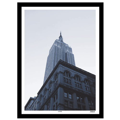 New York monochrome art print of the Empire State building skyscraper, Manhattan