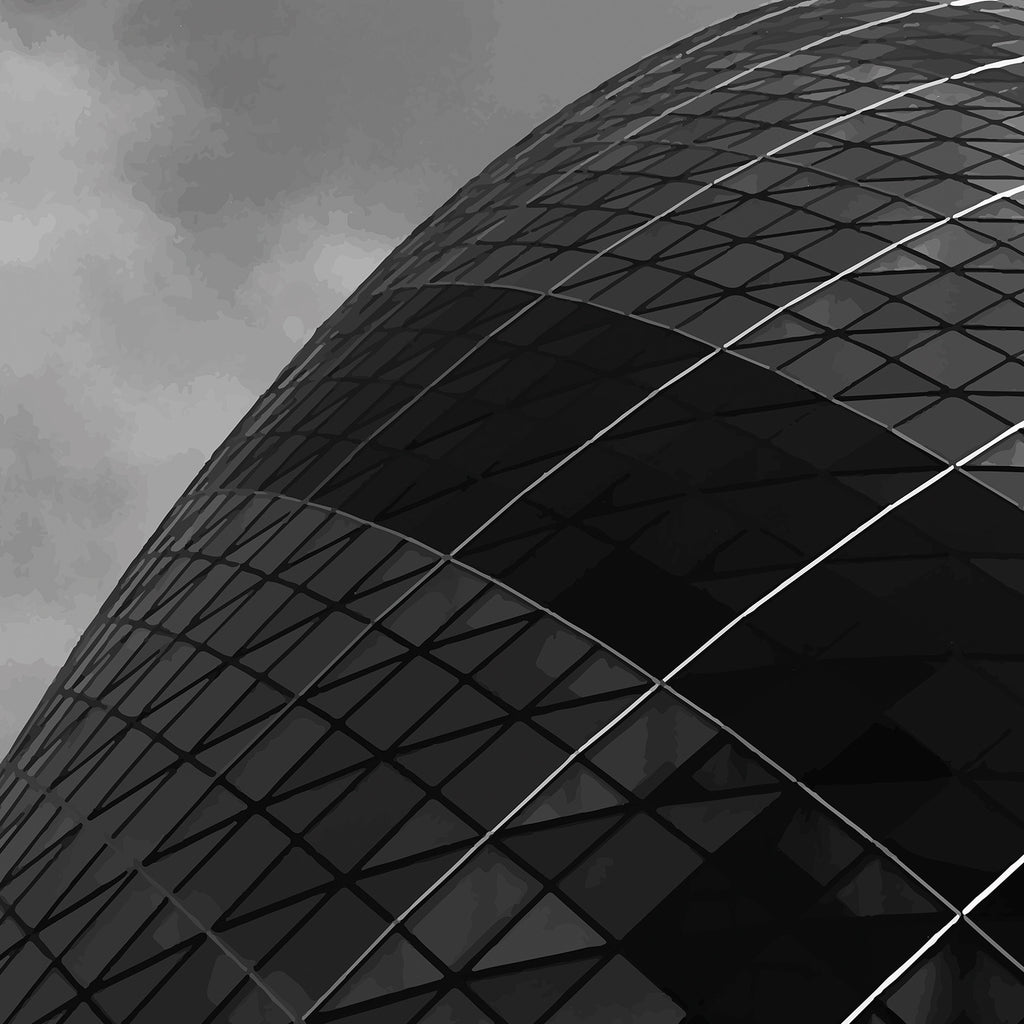 Black and white London skyscraper photography The Gherkin detailing