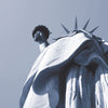 New York monochrome art print of the Statue of Liberty looking upwards detail