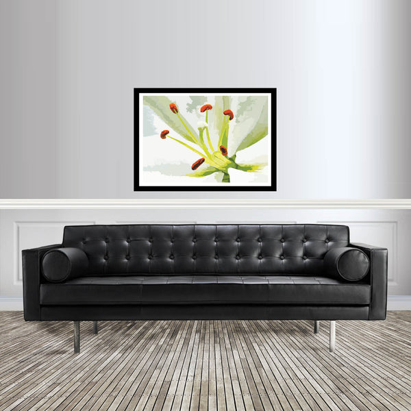 Abstract flower artwork white Lily art print room setting