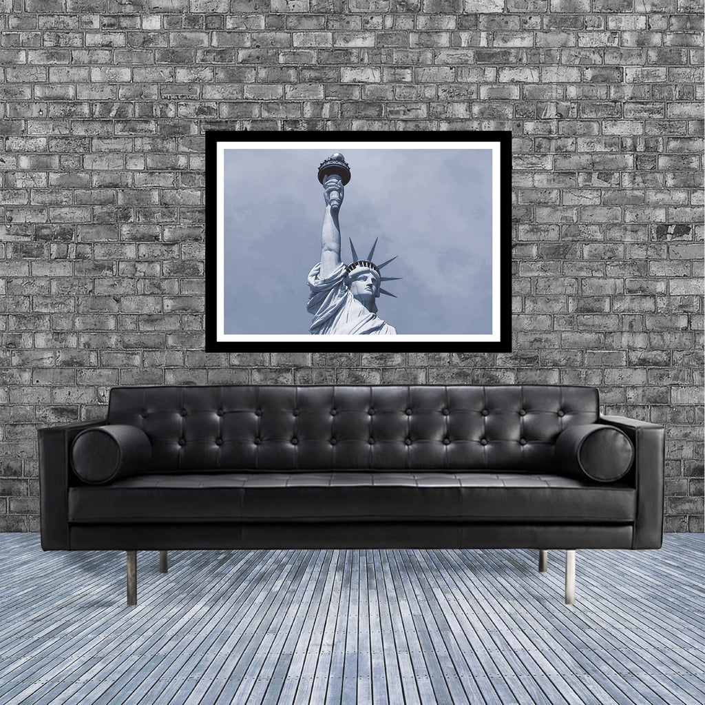New York monochrome art print of the statue of Liberty in room