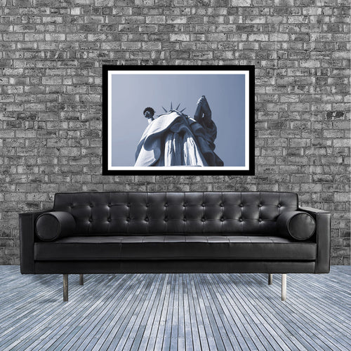 New York monochrome art print of the Statue of Liberty looking upwards in room