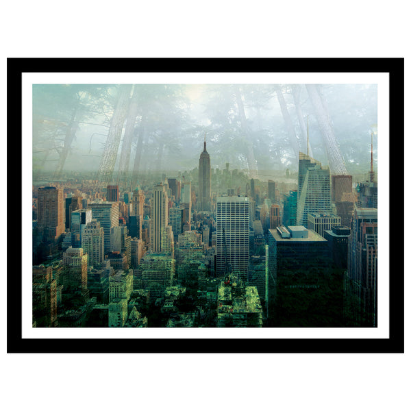 New York double exposed artwork with jungle and manhattan skyscrapers in green