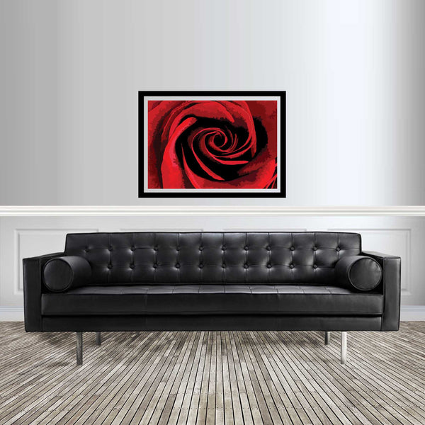 Abstract flower artwork red rose room setting