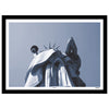 New York monochrome art print of the Statue of Liberty looking upwards