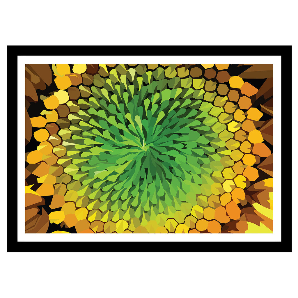 Abstract flower artwork yellow and green sunflower