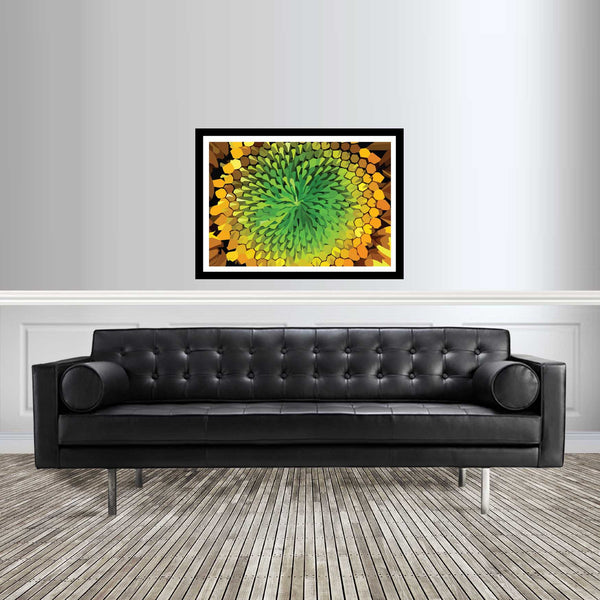 Abstract flower artwork yellow and green sunflower room setting