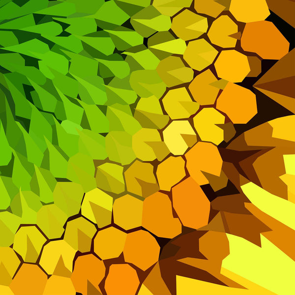 Abstract flower artwork yellow and green sunflower detailing