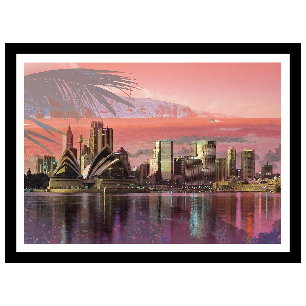 Sydney double exposed art print with bay and water reflection in orange