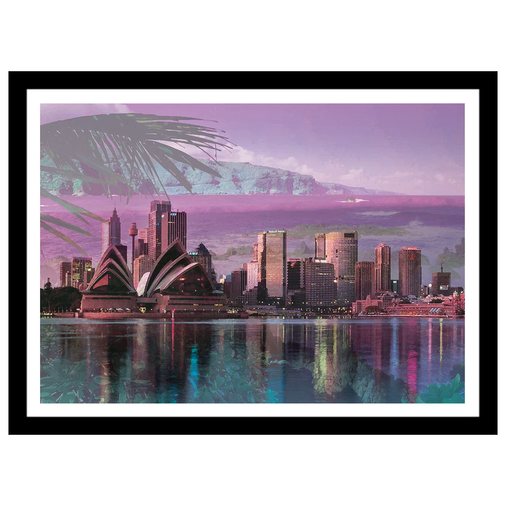 Sydney double exposed artwork with bay and water reflection in purple