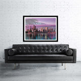 Sydney double exposed art print with bay and water reflection in purple