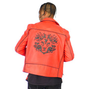 Mens Biker Gator Embossed Red Jacket - XL