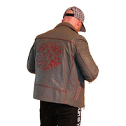 Mens Biker Gator Embossed Gray Jacket - L