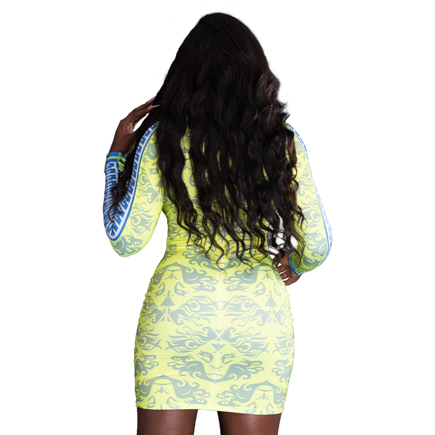 Women's Lion Face Bodycon Dress (Neon Yellow/Royal Blue)