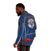 Mens Biker Gator Embossed Royal Blue Jacket - M