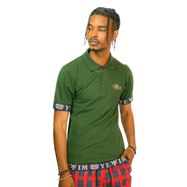 Olive Green Y?®kim Polo With Navy Bands