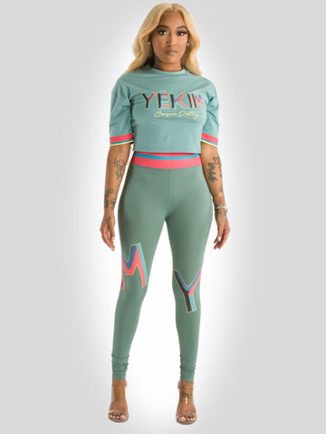 Crop Fitted T-shirt and Leggings - Set Green