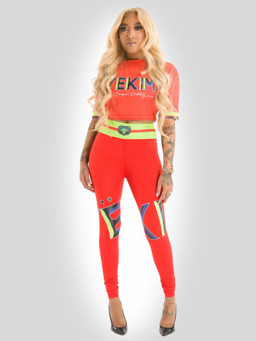 Crop Fitted T-shirt and Leggings - Set Red