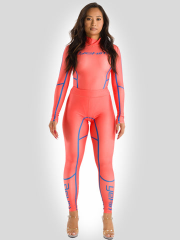 Biker Womens Bodysuit with Leggings Orange