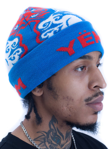 Yekim Beanie Custom Embroidery Blue Orange