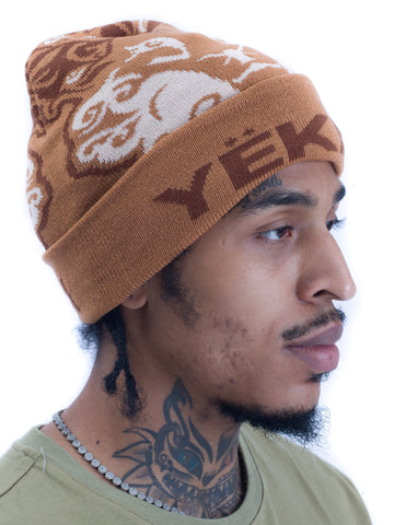 Yekim Beanie Custom Embroidery Brown