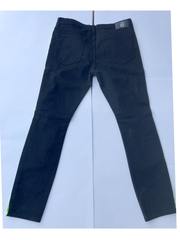 Mens Patch Denim Black with Neon Lining Pant