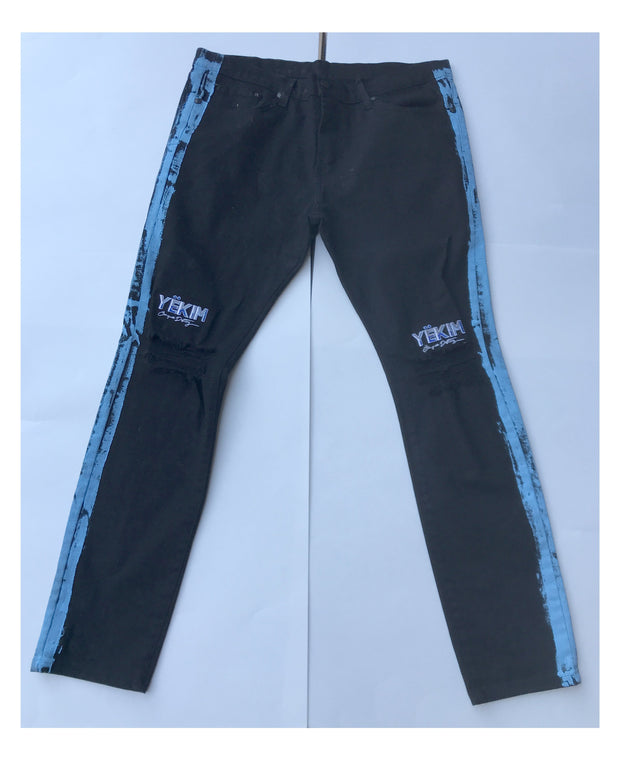Mens Patch Denim Blue with Sky Blue Lining Pant