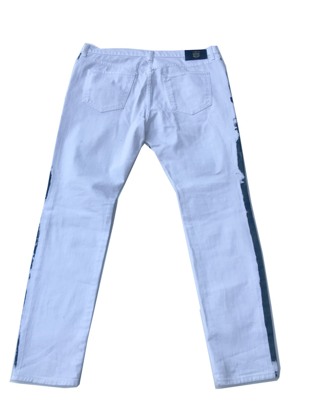 Mens Patch Denim White with Blue Lining Pant