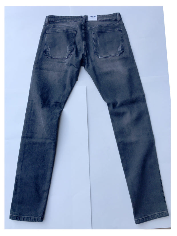 Mens Patch Denim Gray Pant