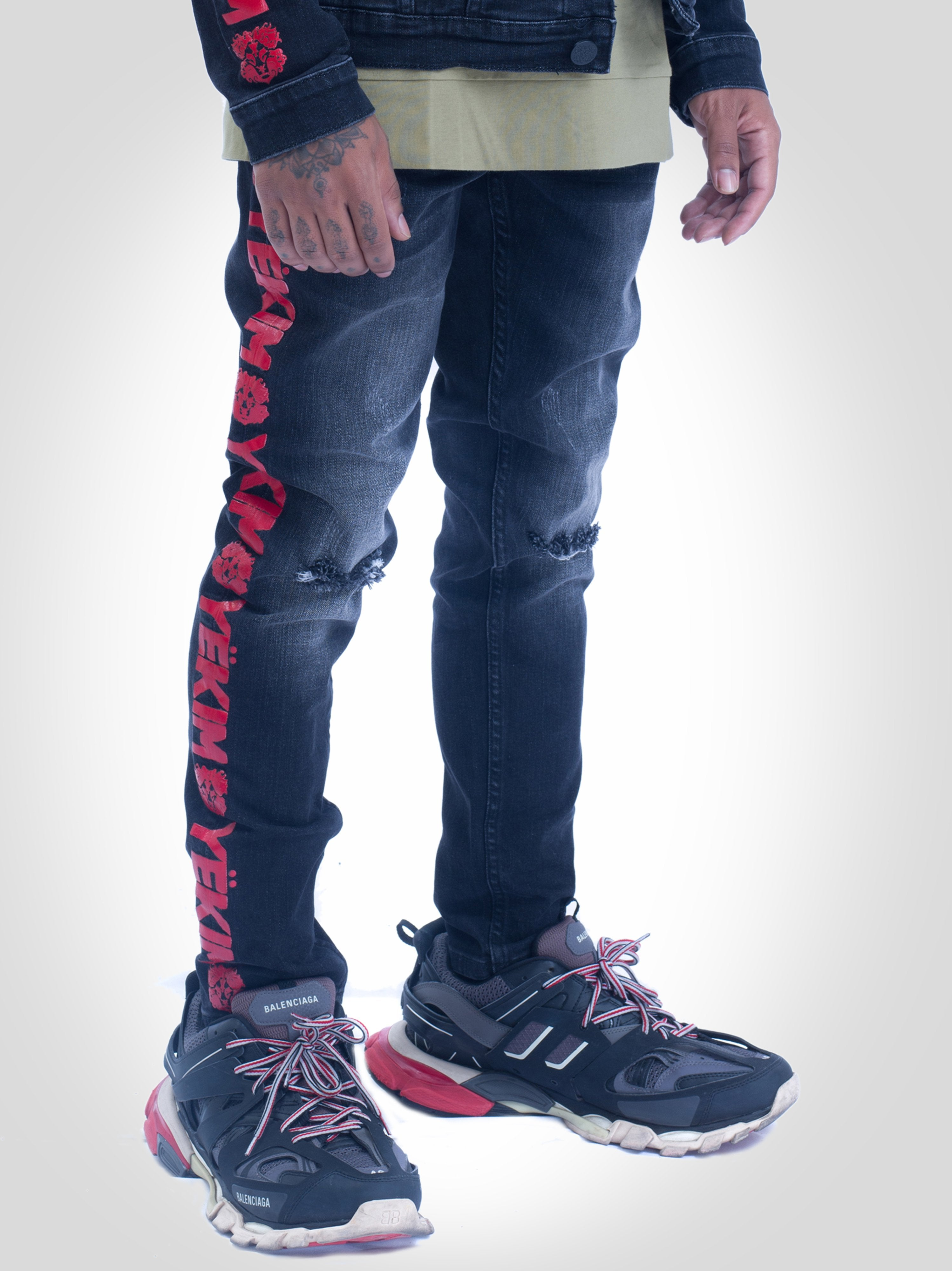 Mens Denim Jeans Dark Black with Red Yekim Side Lining