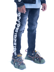 Mens Denim Jeans Dark Black with White Yekim Side Lining