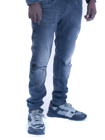 Mens Denim Jeans Indigo Grey with Black Yekim Side Lining
