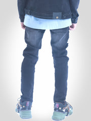 Mens Denim Jeans Indigo Grey with White Yekim Side Lining
