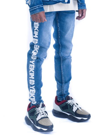 Mens Denim Jeans Light Blue with White Yekim Side Lining