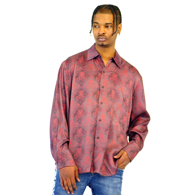 Mens Lion Print Long Sleeve Dress Shirt Rust
