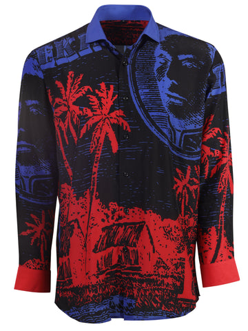 Mens Hawaiian Long Sleeve DressShirt Blue