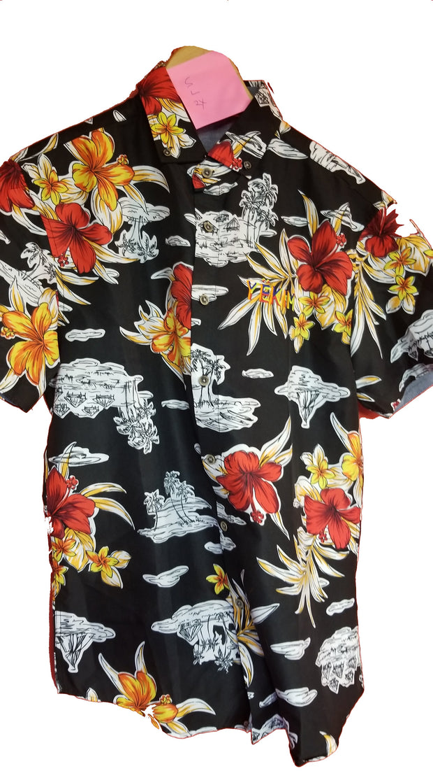 Mens Short Sleeve Floral Shirt Black and red