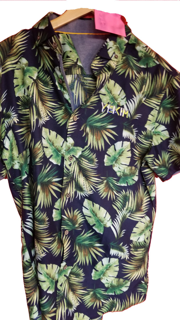Mens Short Sleeve Floral Shirt Black and Green