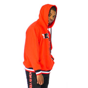 Mens Pullover Red Hoodie Sweater with Badge