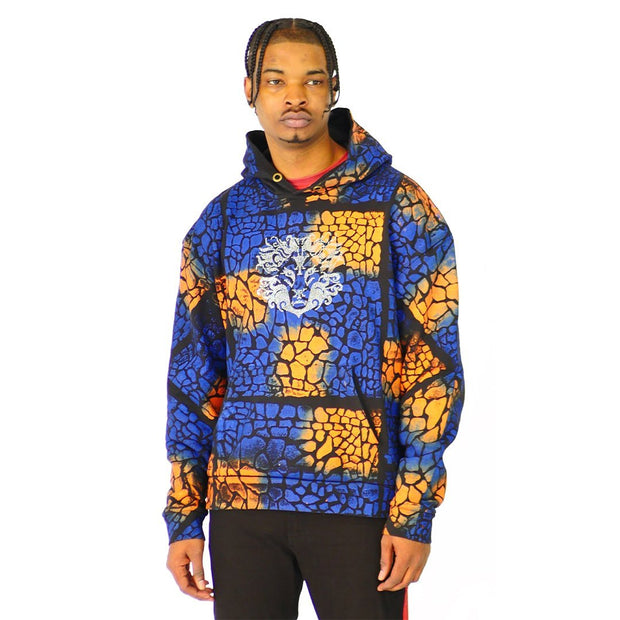 Mens Pullover Croc Painted Hoodie Sweater Blue